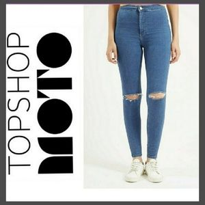 Topshop Moto Ripped Distressed Joni Jeans Size W26